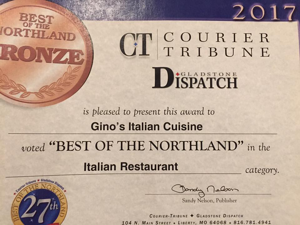 Best Italian Restaurant in the Northland 2017
